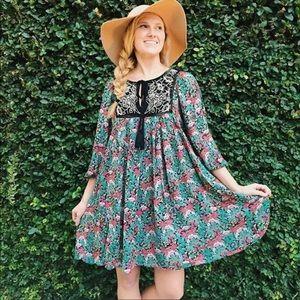 Anthropologie Floreat Ottava Peasant Dress M